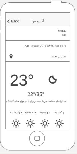 قابلیت آب و هوا در اپلیکیشن