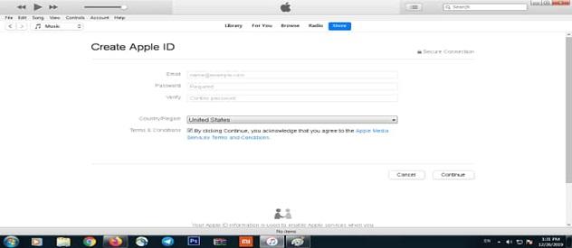 وارد کردن اطلاعات برای ساخت اپل آیدی