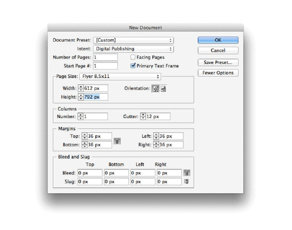 ایجاد یک سند جدید InDesign